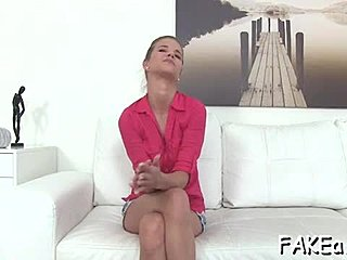 Interview, Doggystyle, Shaved pussy, Pussy, Hairless, Missionary, Sofa